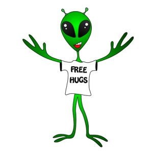 Alien wearing free hugs shirt