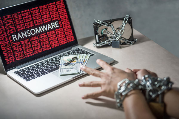 ransomware cyber attack on laptop